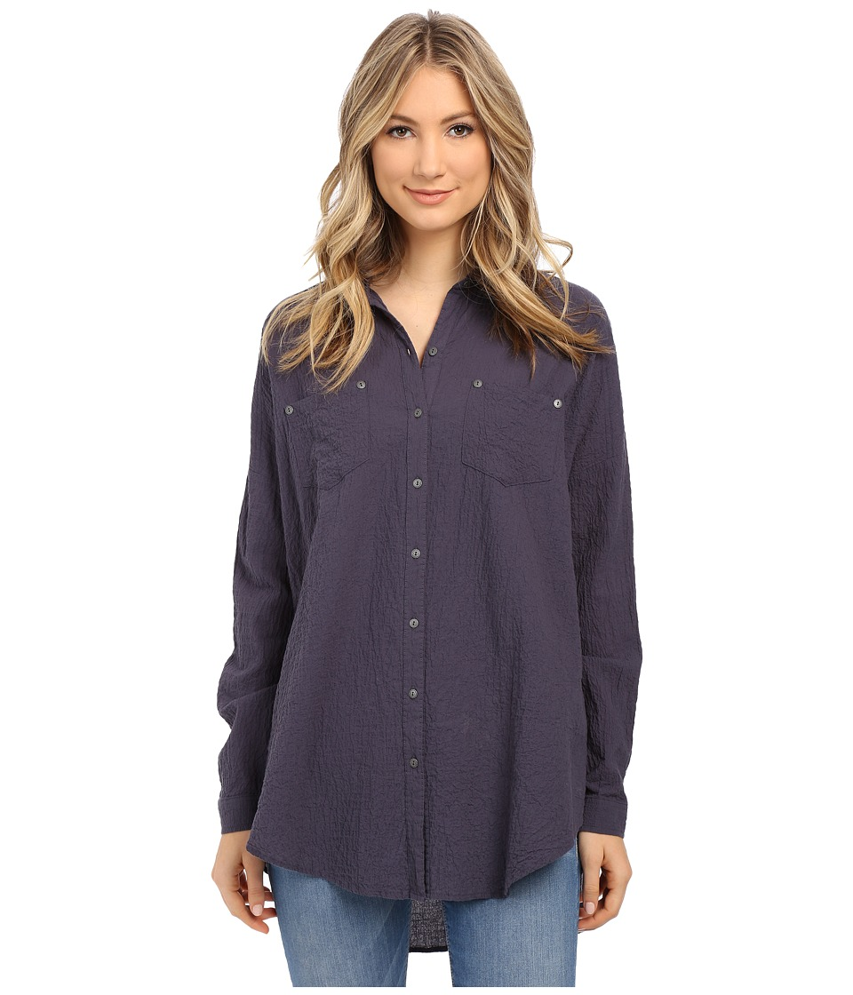 Free People - Lover Her Madly Button Down Shirt (Night Sky) Women's Long Sleeve Button Up