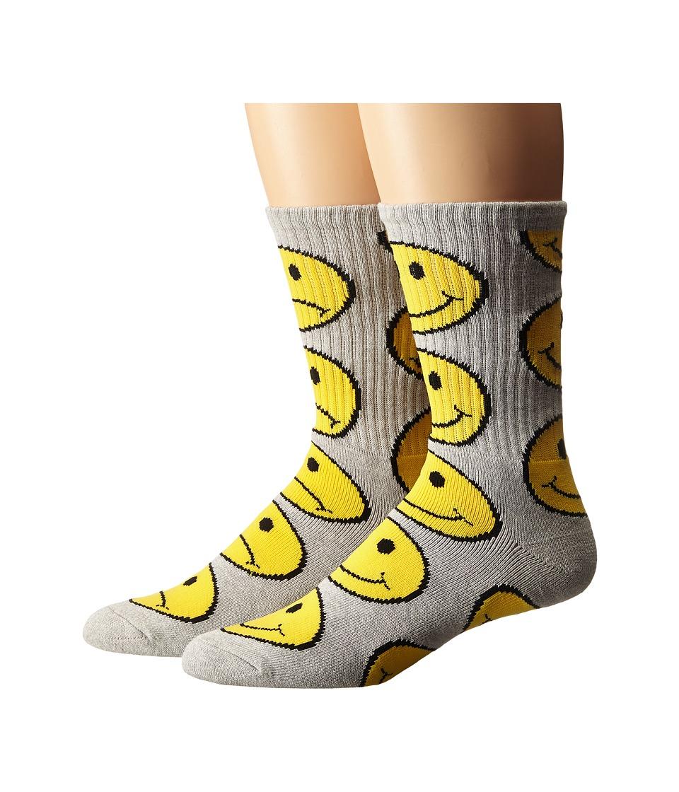 HUF - Have A Bi Polar Day Crew Socks (Grey Heather) Men's Crew Cut Socks Shoes