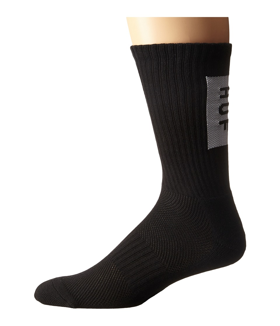 HUF - Performance Bar Logo Crew Sock (Black) Men's Crew Cut Socks Shoes