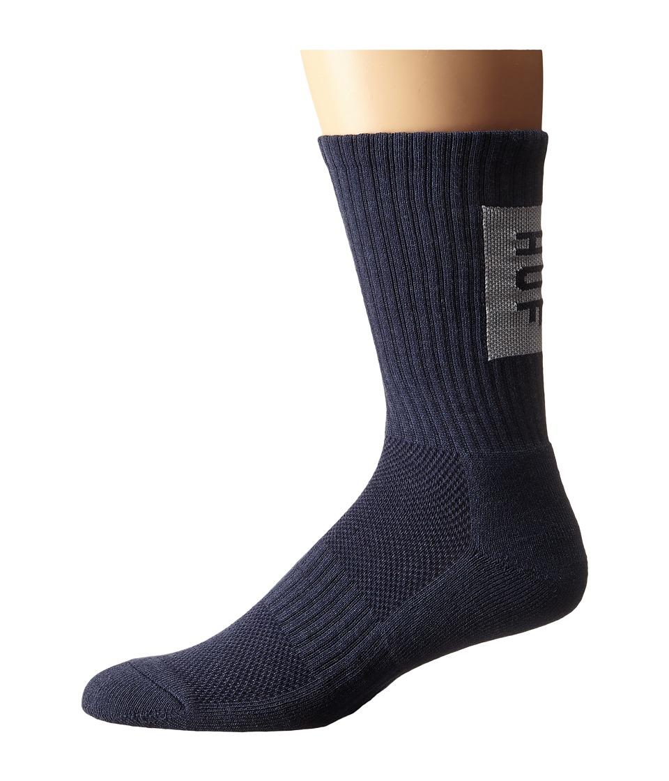 HUF - Performance Bar Logo Crew Sock (Navy Heather) Men's Crew Cut Socks Shoes