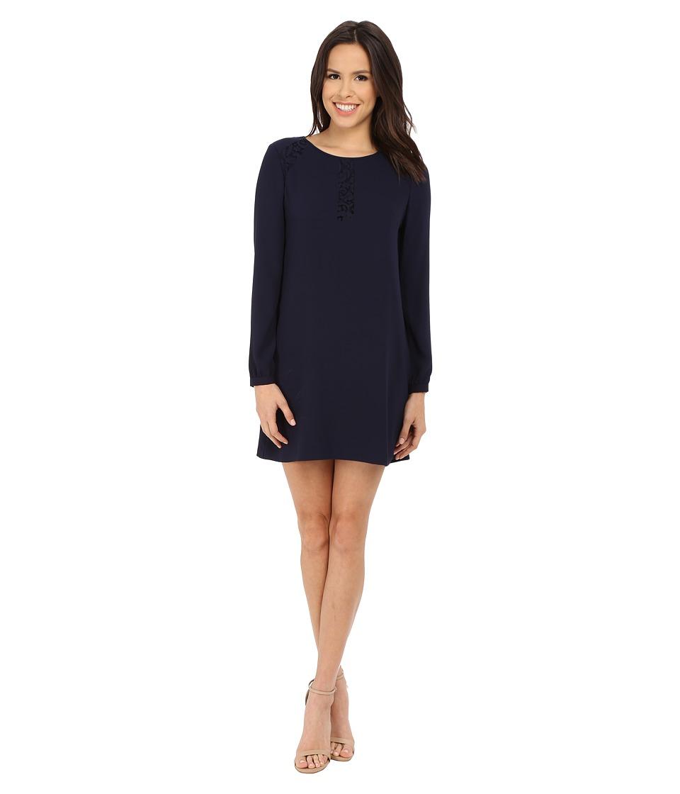 Jessica Simpson Satin Back Crepe Dress (Navy) Women
