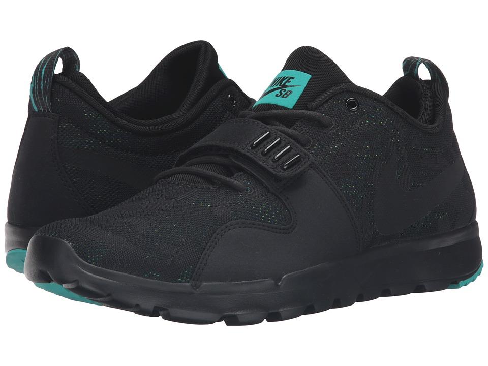 Nike SB - Trainerendor (Black/Black/Clear Jade/Volt) Men's Skate Shoes