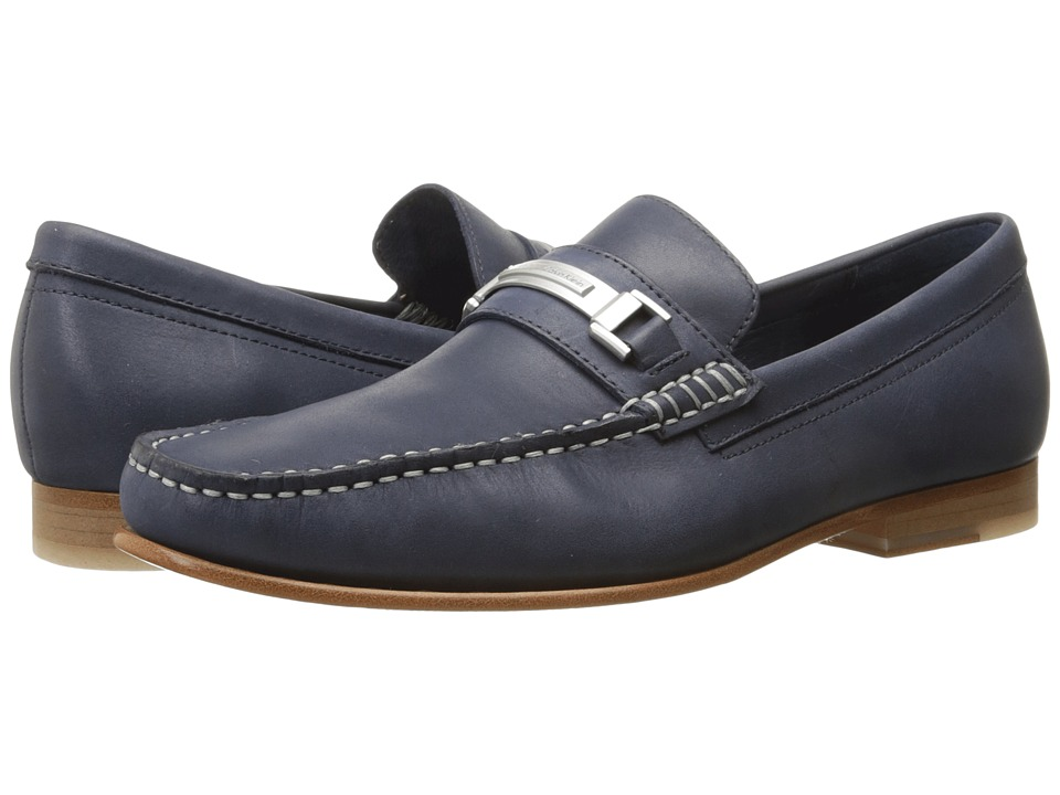 Calvin Klein - Bruce (Dark Navy Washed Leather) Men's Shoes