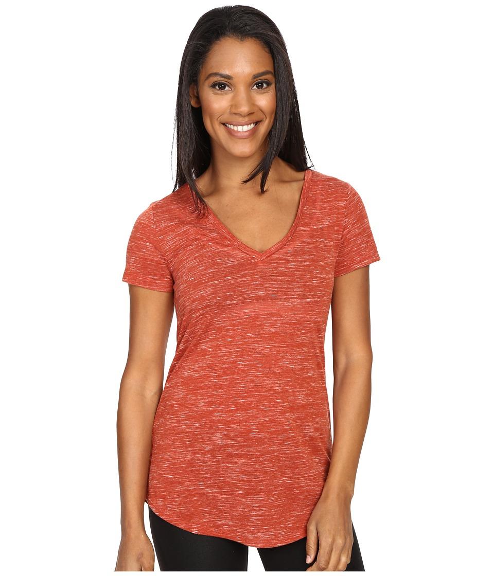 ALO - Deep V-Neck Shirt (Sunbaked Marble) Women's Short Sleeve Pullover