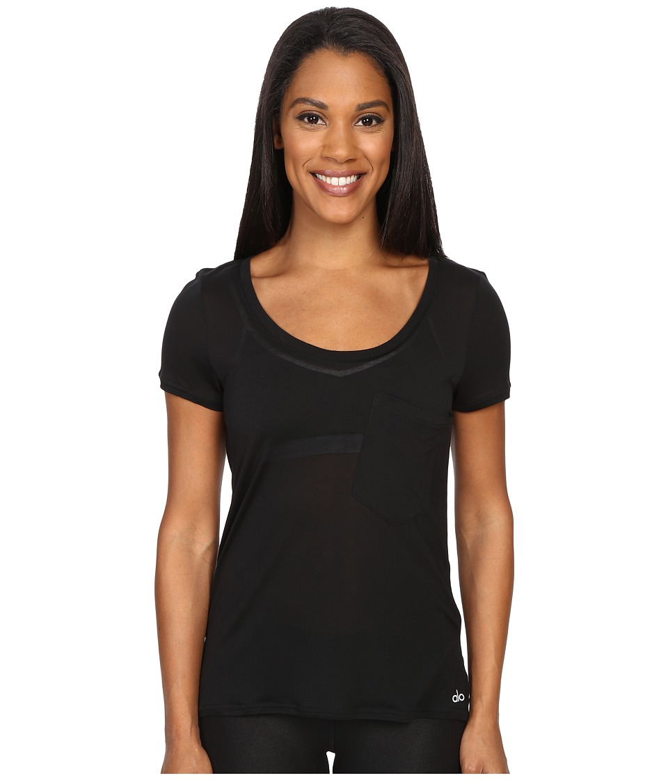 ALO - Rise Short Sleeve Top (Black/Black) Women's Clothing