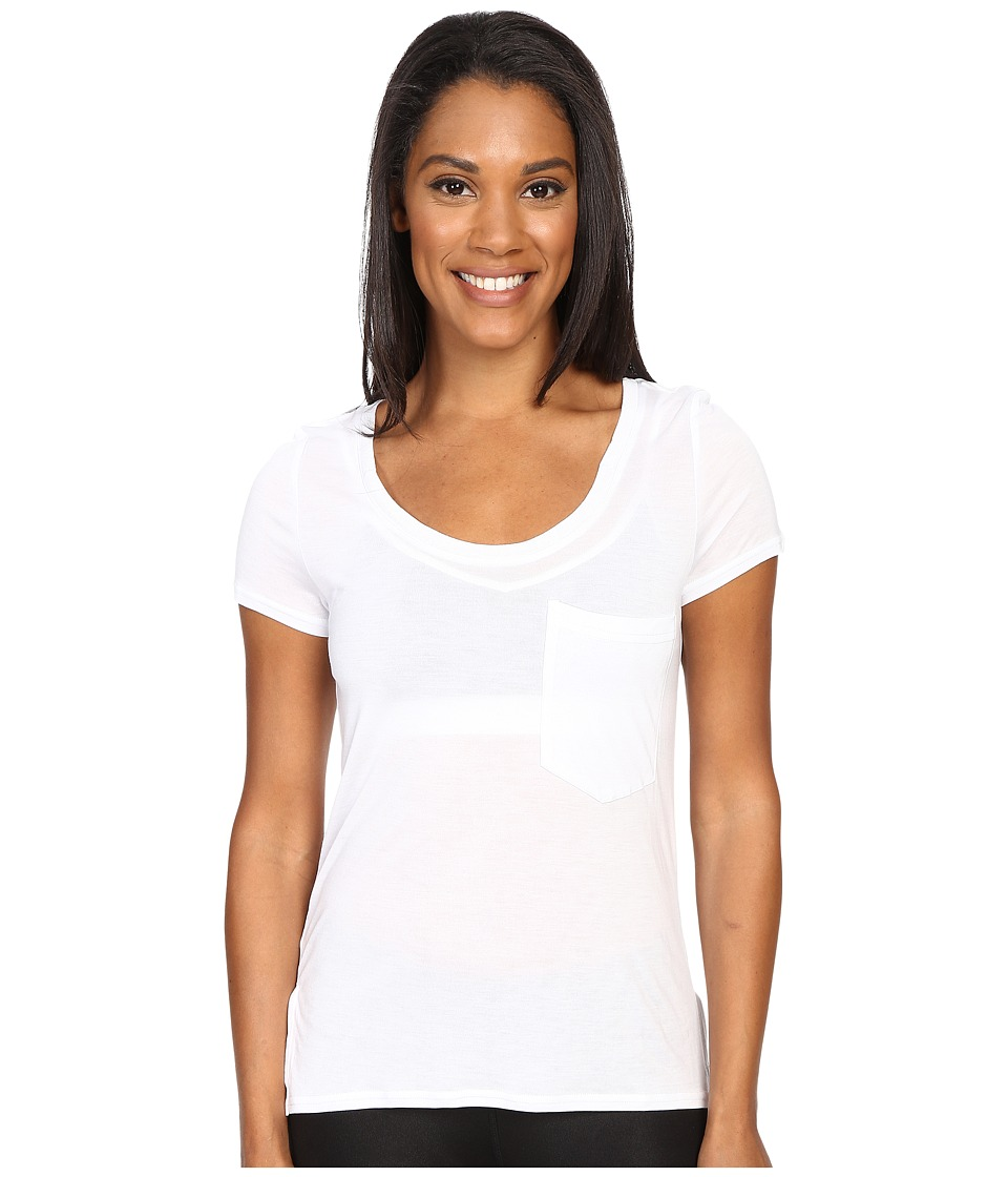 ALO - Rise Short Sleeve Top (White/White) Women's Clothing
