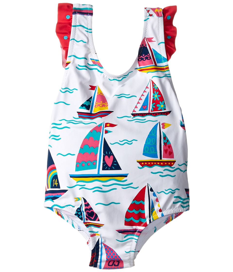 Hatley Kids - Sailboats Ruffle One-Piece Swimsuit (Toddler/Little Kids/Big Kids) (White) Girl's Swimsuits One Piece