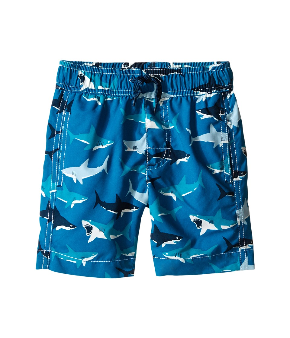 Hatley Kids - Great White Sharks Swim Trunks (Toddler/Little Kids/Big Kids) (Blue) Boy's Swimwear