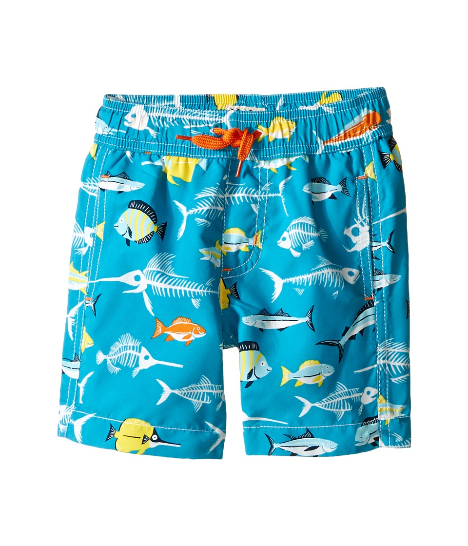 Hatley Kids - Fish Bones Swim Trunks (Toddler/Little Kids/Big Kids) (Blue) Boy's Swimwear