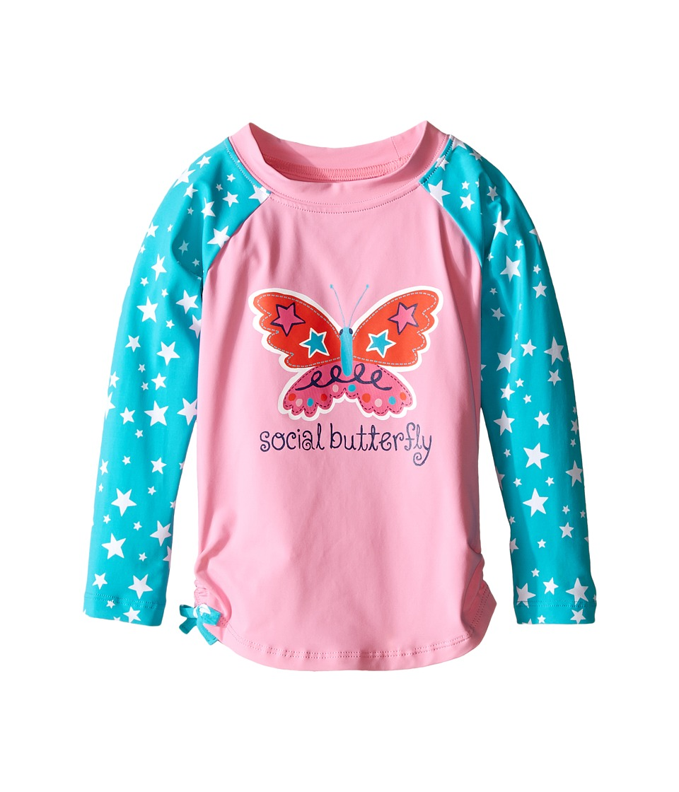 Hatley Kids Electric Butterfly Rashguard (Toddler/Little Kids/Big Kids) (Pink) Girl