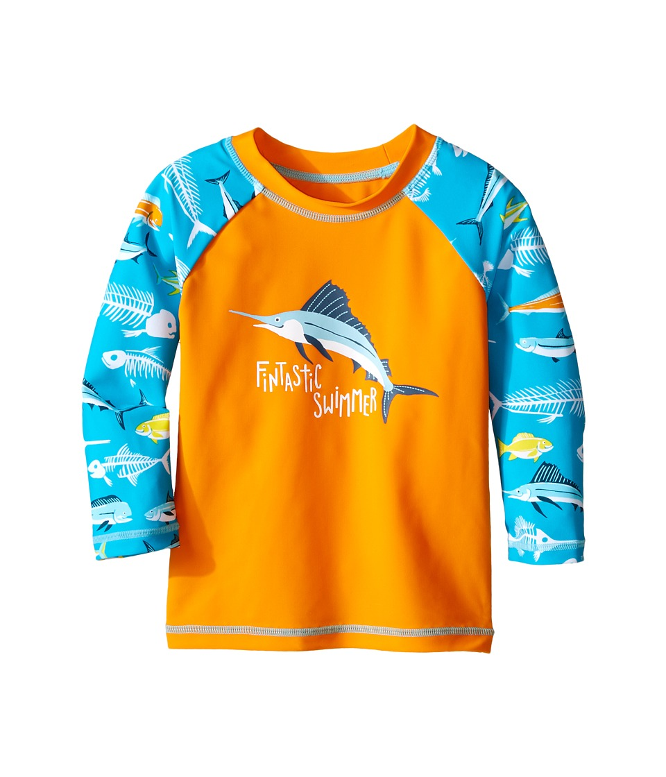 Hatley Kids - Fish Bones Rashguard (Toddler/Little Kids/Big Kids) (Orange) Boy's Swimwear