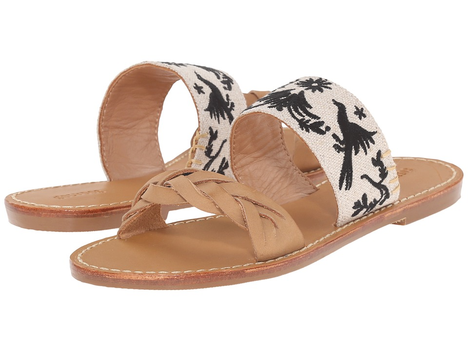 Soludos Braided Slide Sandal (Otomi Embroidery/Sand Black) Women