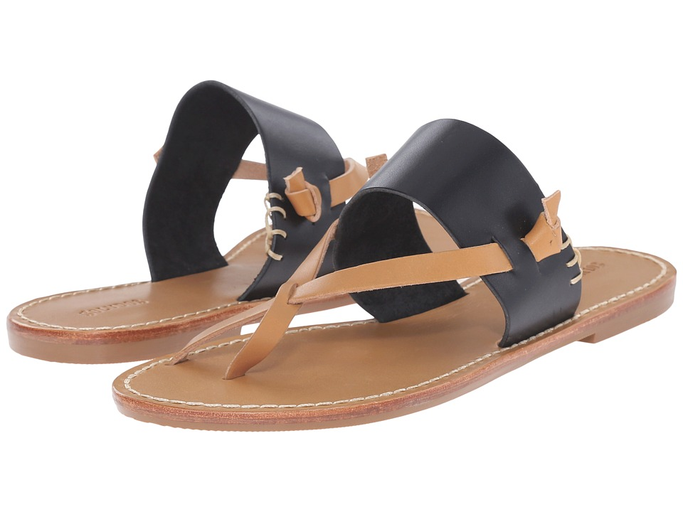 Soludos - Slotted Thong Sandal (Leather Black) Women's Sandals