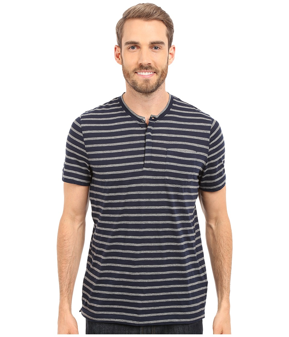 Kenneth Cole Sportswear - Stripe Henley w/ Pocket (Indigo) Men's Short Sleeve Knit
