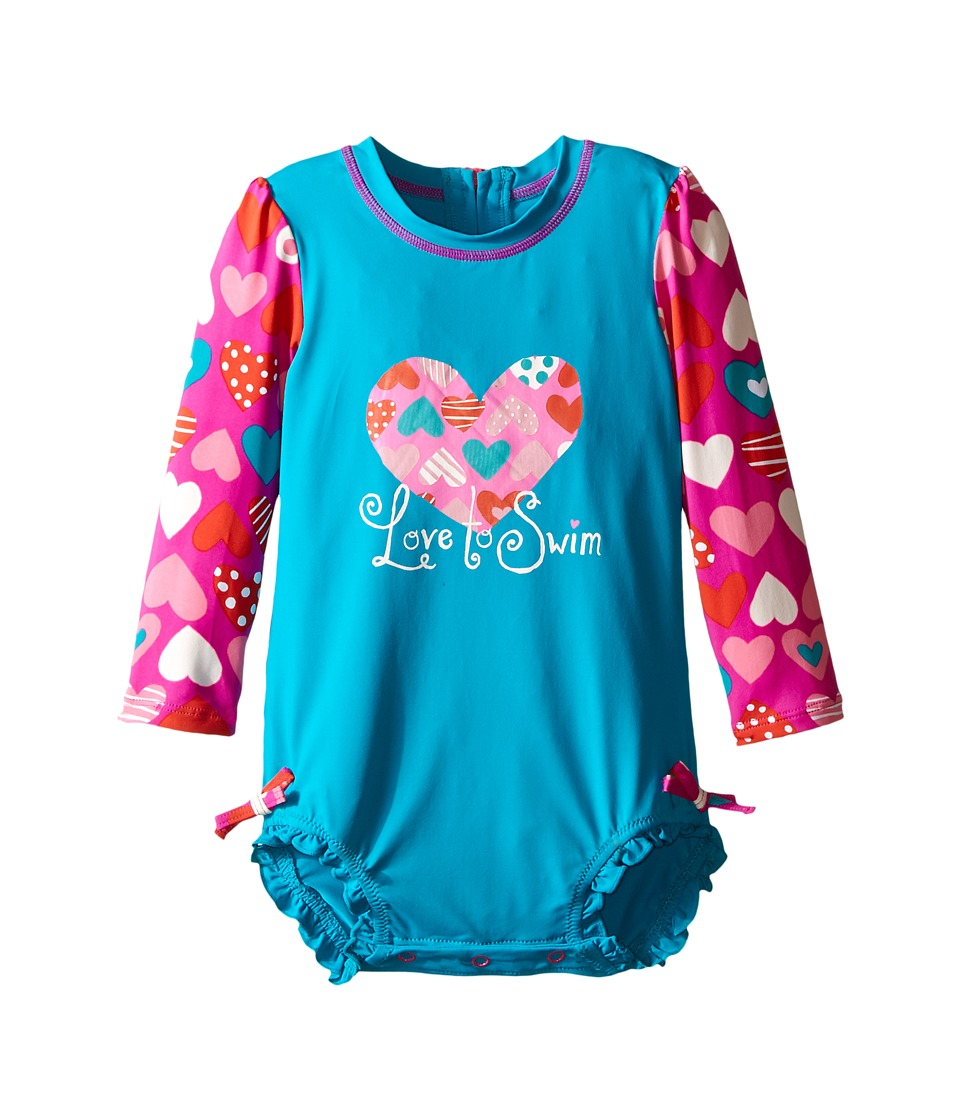 Hatley Kids - Crazy Hearts Rashguard (Infant) (Blue) Girl's Swimwear