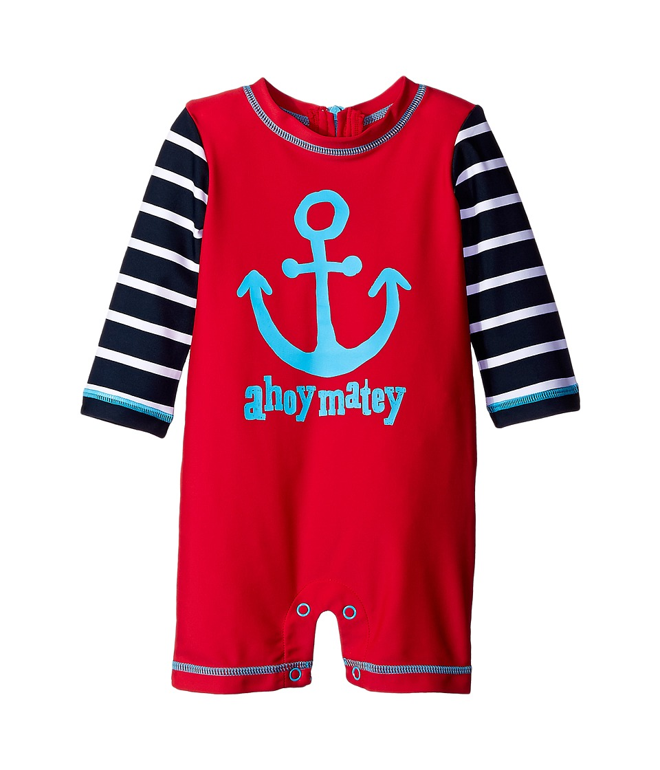 Hatley Kids - Graphic Anchors Rashguard (Infant) (Red) Boy's Swimsuits One Piece