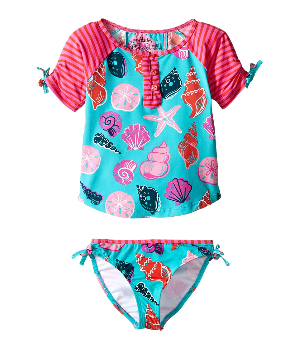 Hatley Kids - Beach Shells Rashguard Tankini Sets (Toddler/Little Kids/Big Kids) (Aqua) Girl's Swimwear Sets