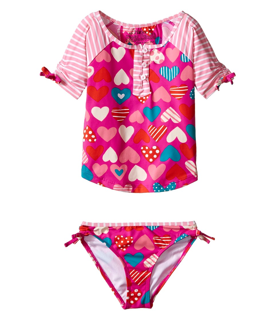 Hatley Kids - Crazy Hearts Rashguard Tankini Sets (Toddler/Little Kids/Big Kids) (Pink) Girl's Swimwear Sets