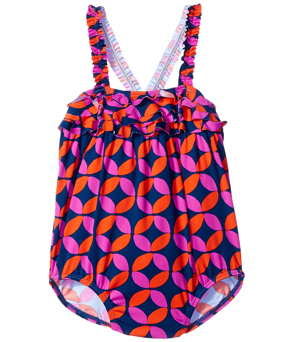 Hatley Kids - Graphic Lifesavers Ruffle One-Piece Swimsuit (Infant) (Blue) Girl's Swimsuits One Piece