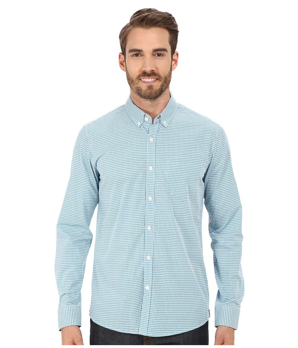 Kenneth Cole Sportswear Long Sleeve Slim Button Down Promo (Teal Combo) Men