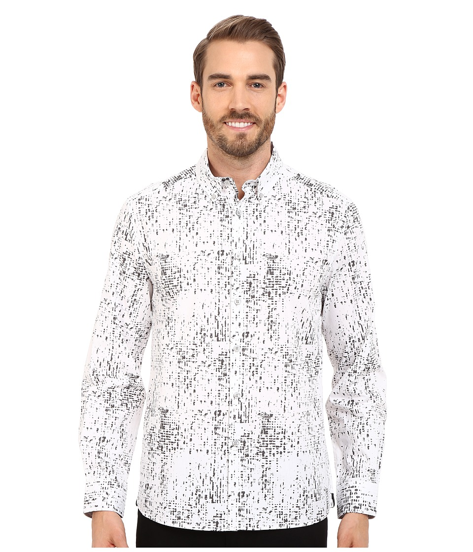 Kenneth Cole Sportswear - Abstract Printed Button-Front Shirt (Ash Grey Combo) Men's Long Sleeve Button Up