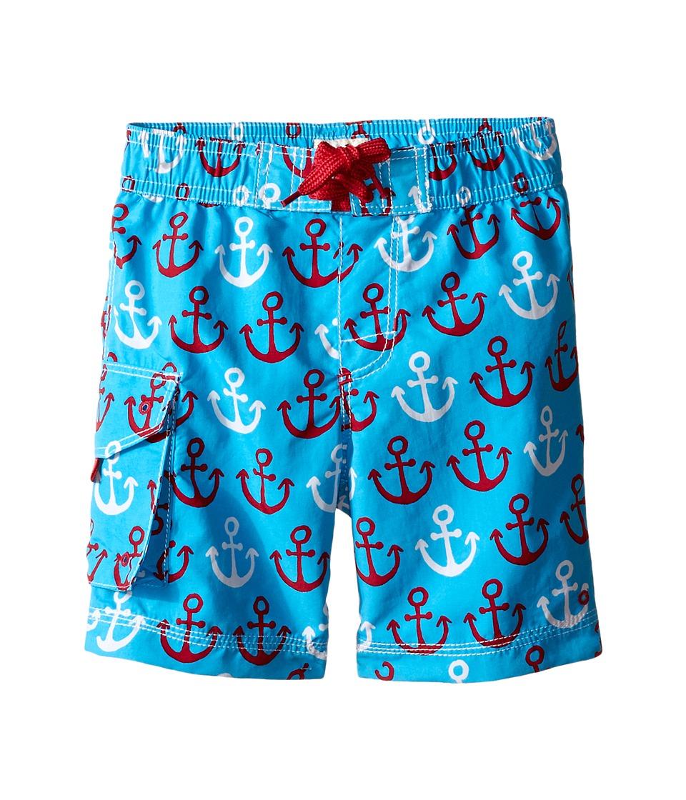 Hatley Kids - Nautical Anchors Boardshorts (Toddler/Little Kids/Big Kids) (Blue) Boy's Swimwear