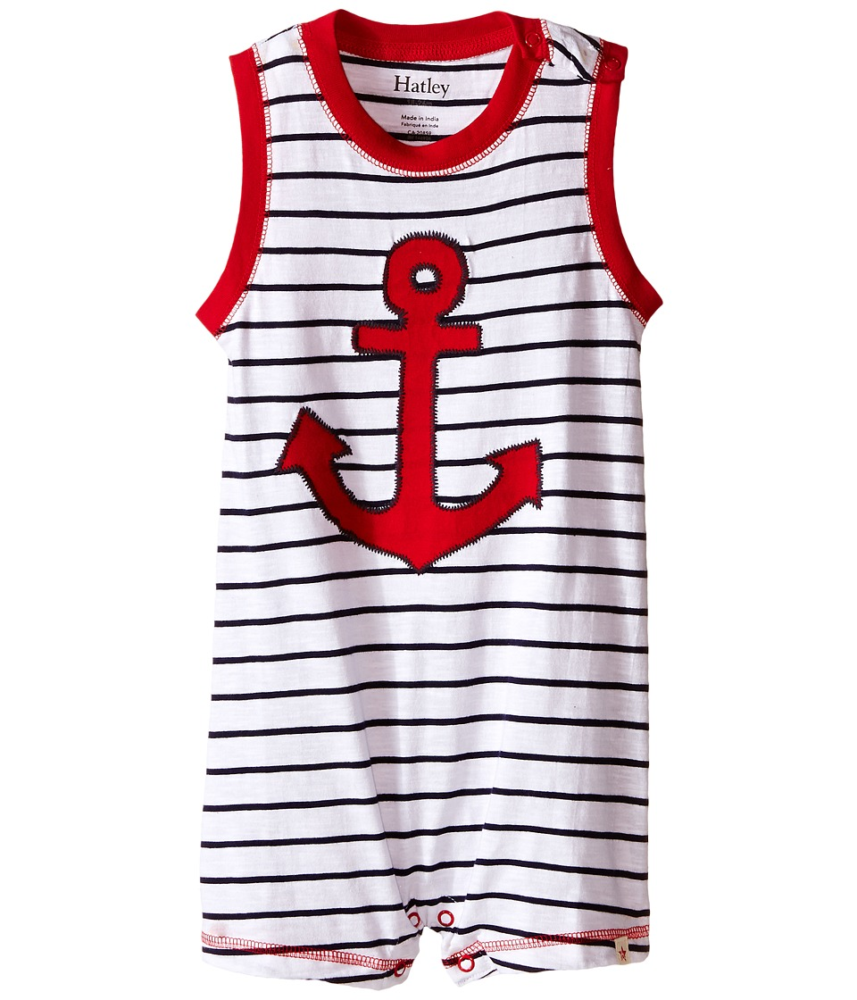 Hatley Kids - Retro Nautical Muscle Shortall (Infant) (White) Boy's Jumpsuit & Rompers One Piece