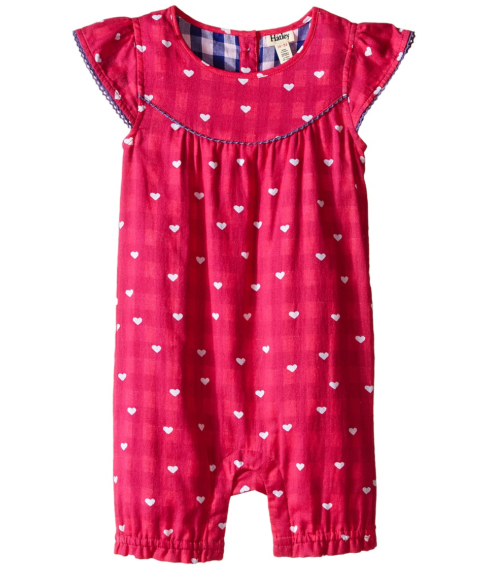 Hatley Kids - Little Hearts Shortall (Infant) (Pink) Girl's Jumpsuit & Rompers One Piece