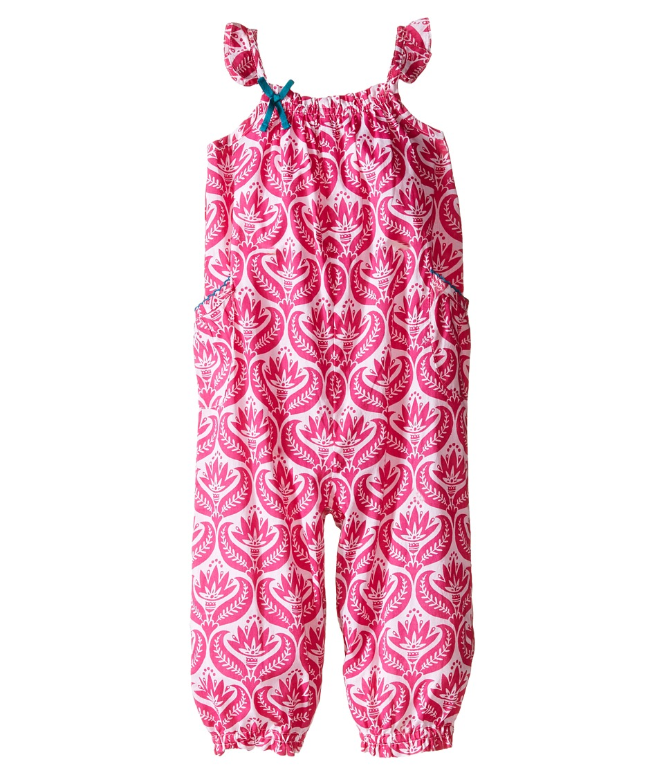Hatley Kids - Tropical Neon Floral Gathered Shortall (Infant) (Pink) Girl's Jumpsuit & Rompers One Piece