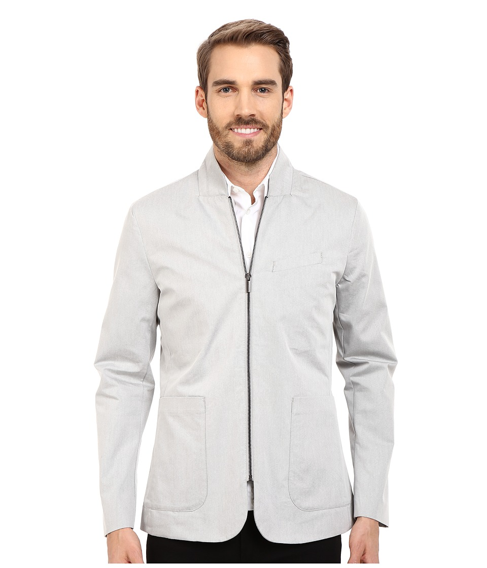Kenneth Cole Sportswear - Zip Patch Pocket Blazer (Stone Combo) Men's Jacket