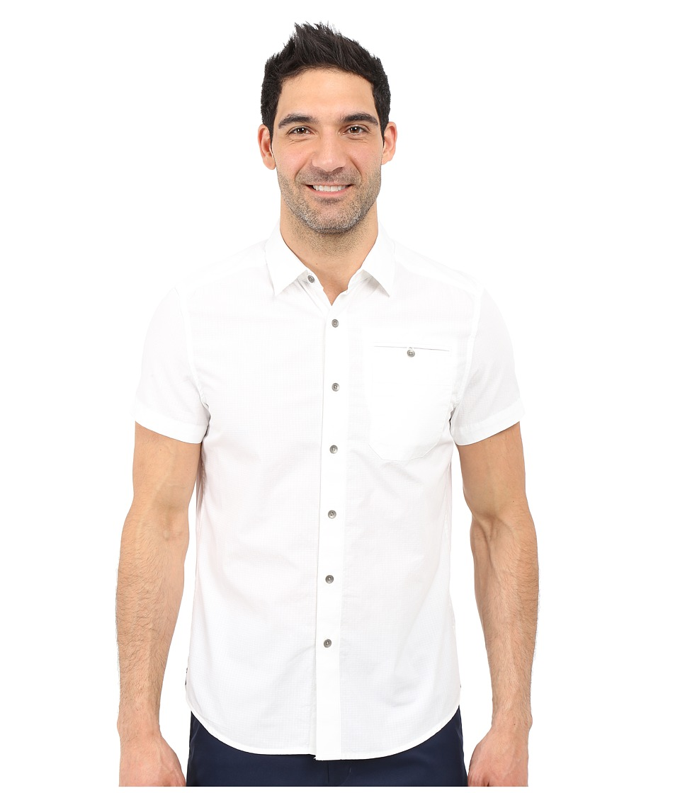 Kenneth Cole Sportswear - Short Sleeve Button Down Ripstop (White) Men's Short Sleeve Button Up
