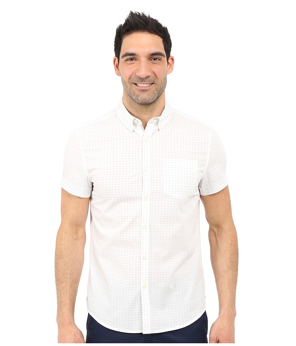 Kenneth Cole Sportswear - Slim-Fit Printed Button-Front Shirt (White Combo) Men's Short Sleeve Button Up
