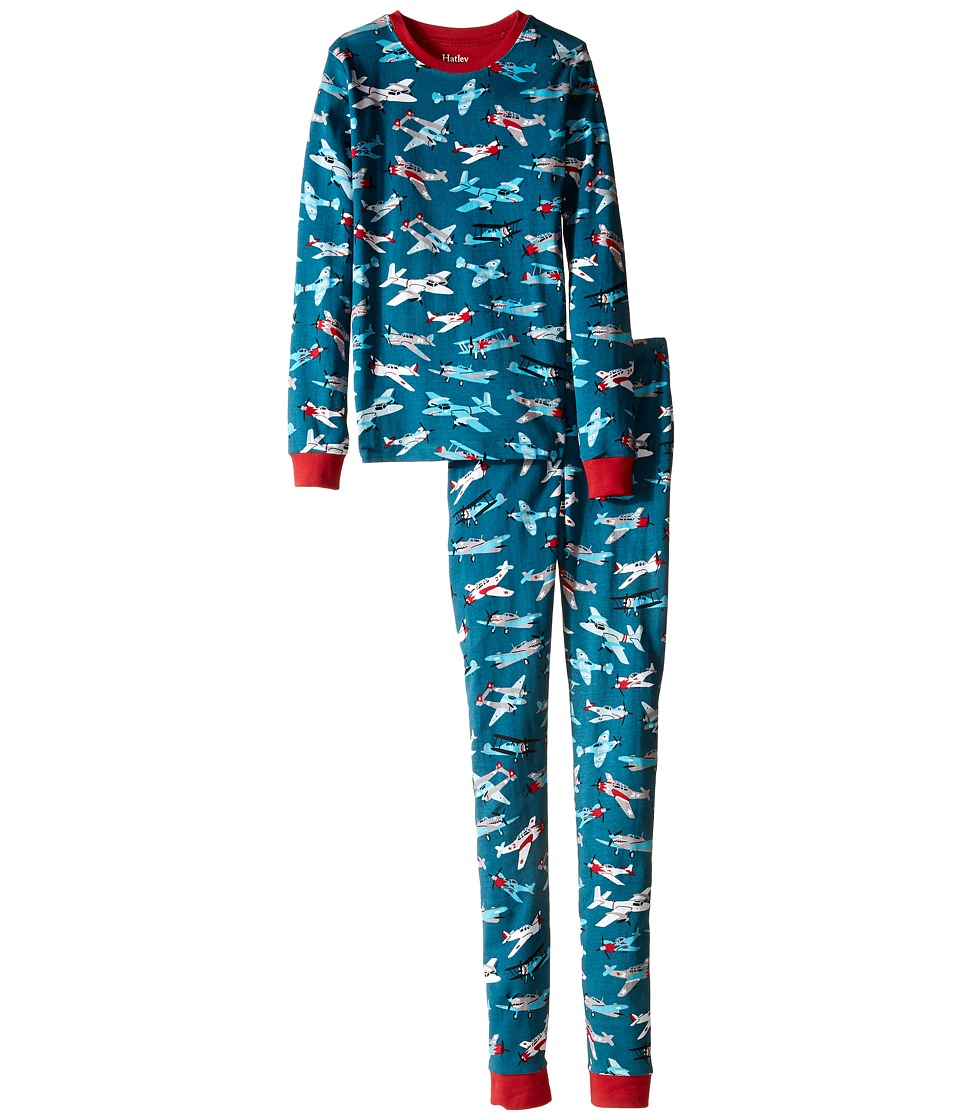 Hatley Kids - Fighter Planes PJ Set (Toddler/Little Kids/Big Kids) (Blue) Boy's Pajama Sets