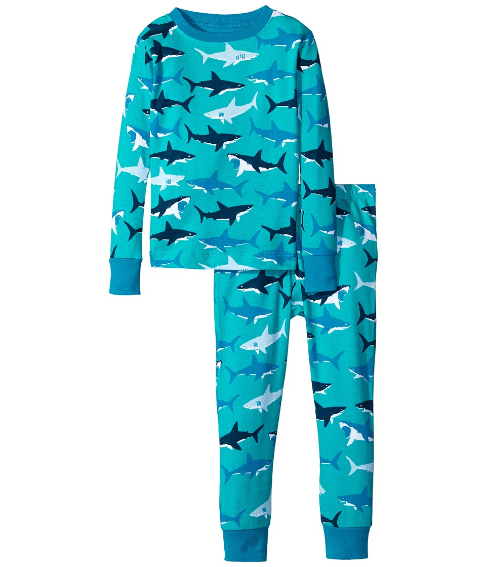 Hatley Kids - Great White Sharks PJ Set (Toddler/Little Kids/Big Kids) (Blue) Boy's Pajama Sets