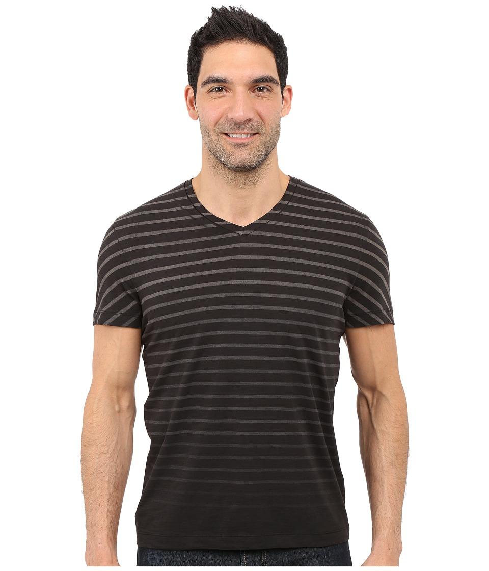 Kenneth Cole Sportswear - Stripe V-Neck Tee (Black) Men's Short Sleeve Pullover