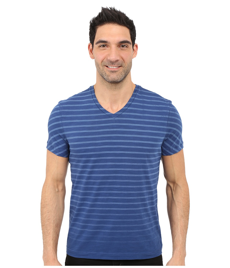 Kenneth Cole Sportswear - Stripe V-Neck Tee (Smokey Blue) Men's Short Sleeve Pullover