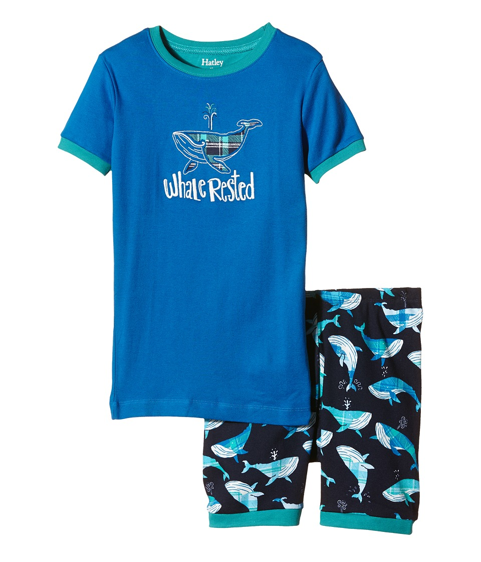 Hatley Kids - Plaid Whales Short PJ Set (Toddler/Little Kids/Big Kids) (Blue) Boy's Pajama Sets
