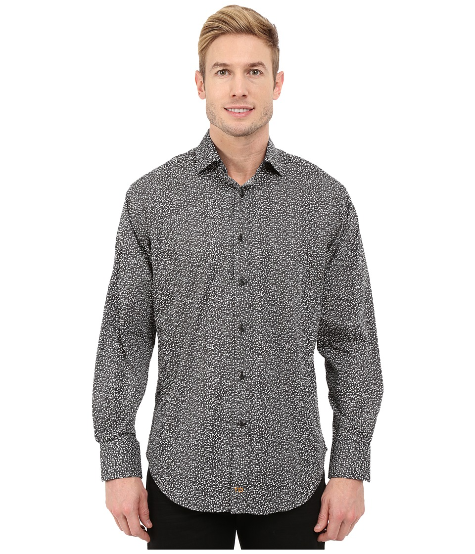 Thomas Dean & Co. - Long Sleeve Woven Tiny Poplin Print (Black) Men's Long Sleeve Button Up