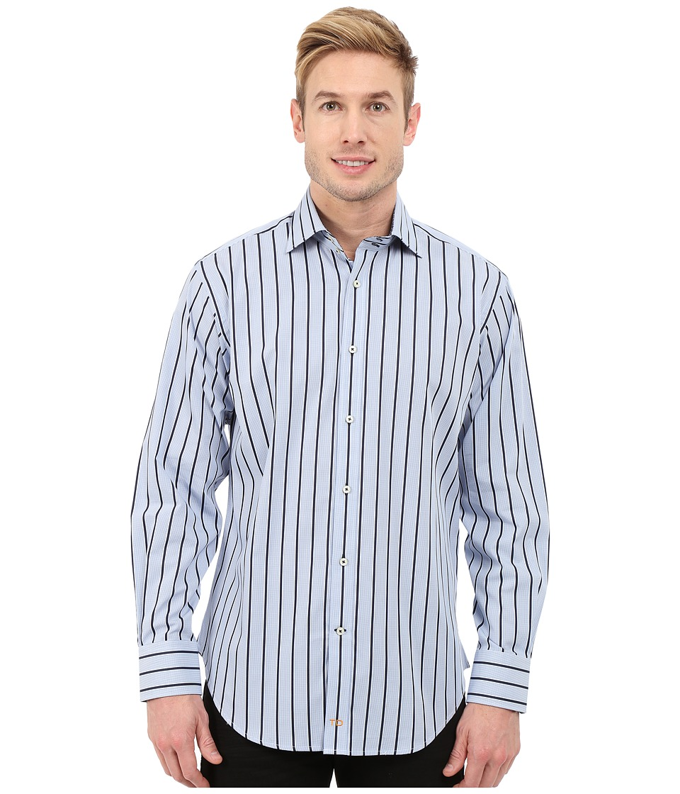Thomas Dean & Co. - Long Sleeve Woven Tiny Check w/ Satin Stripe (Blue) Men