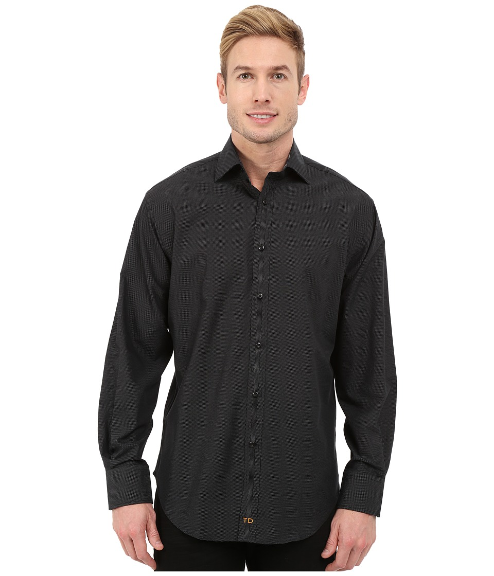 Thomas Dean & Co. - Long Sleeve Woven w/ Fil Coupe Dot (Black) Men's Long Sleeve Button Up