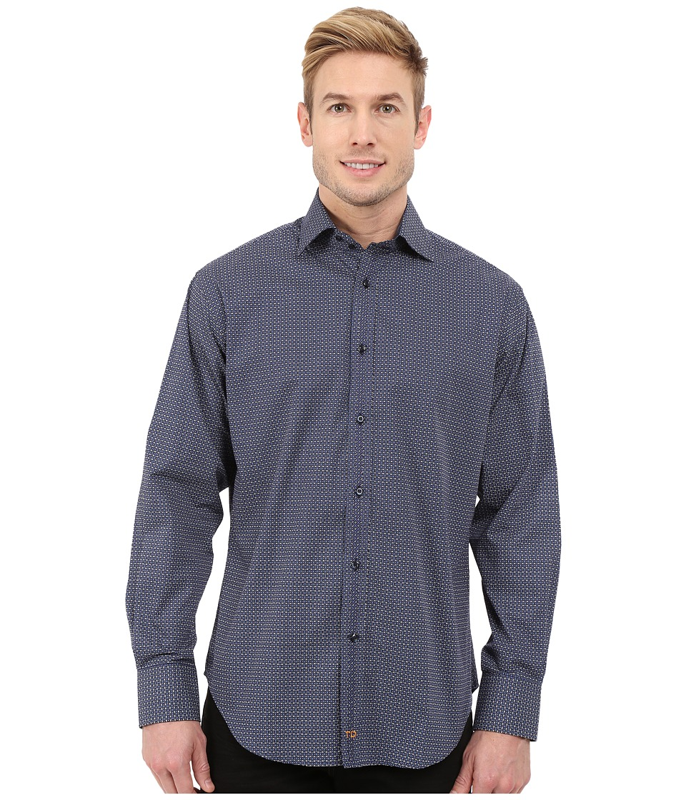 Thomas Dean & Co. - Long Sleeve Woven Tiny Poplin Print (Navy) Men's Long Sleeve Button Up