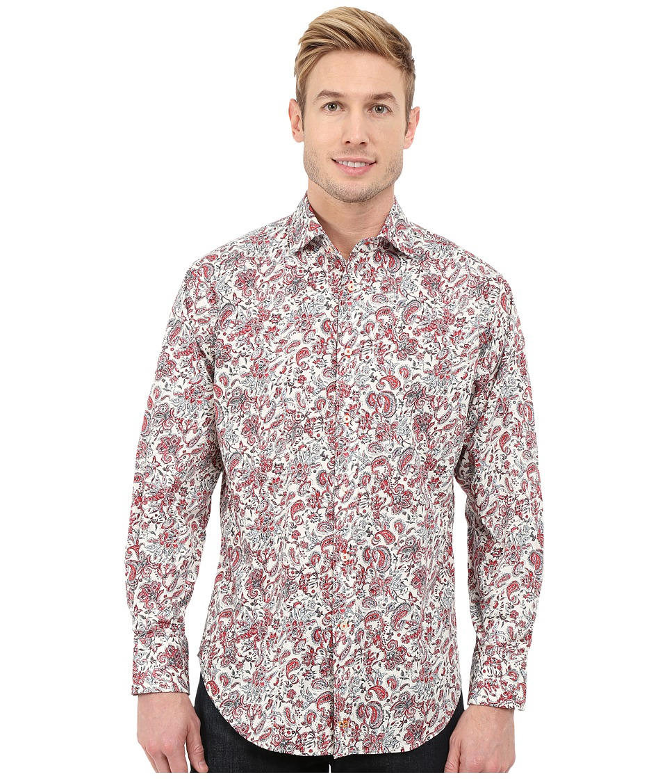 Thomas Dean & Co. - Long Sleeve Woven Paisley/Floral Print (Red) Men's Long Sleeve Button Up