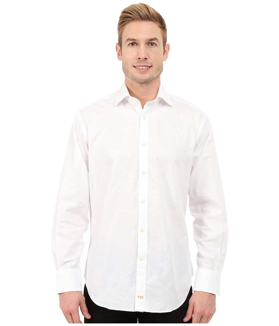 Thomas Dean & Co. - Long Sleeve Woven Jacquard Print (White) Men's Long Sleeve Button Up