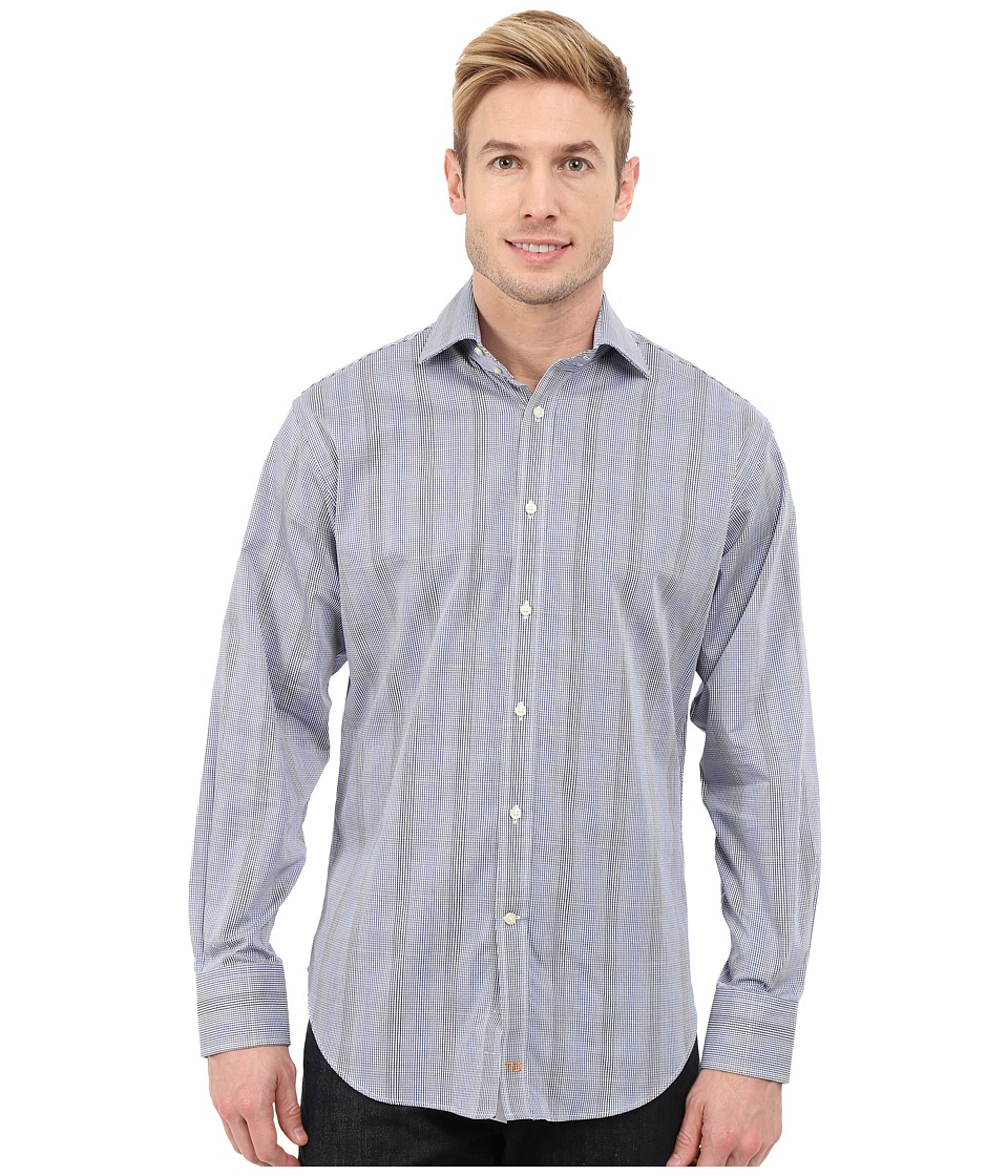 Thomas Dean & Co. - Long Sleeve Woven Poplin Check (Blue) Men's Long Sleeve Button Up