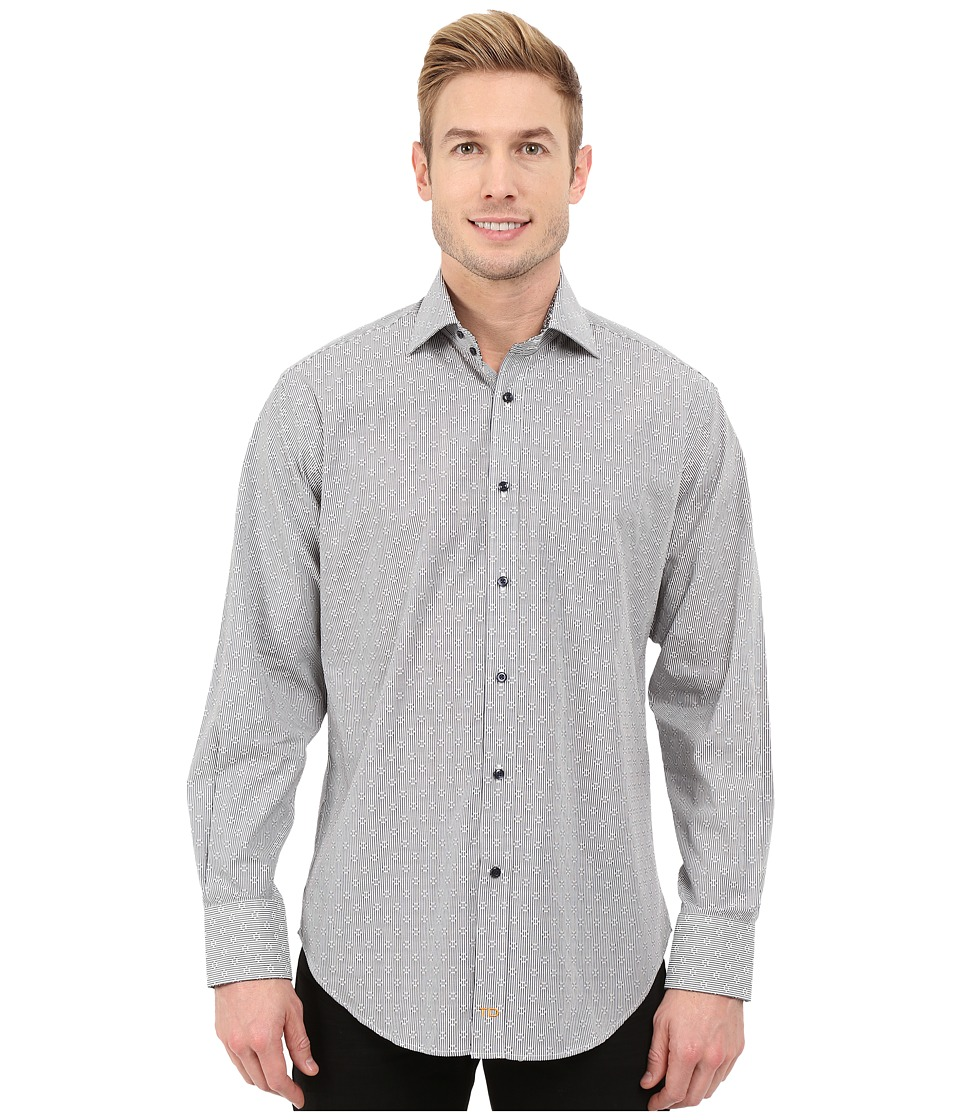 Thomas Dean & Co. - Long Sleeve Woven Jacquard Stripe (Blue) Men's Long Sleeve Button Up