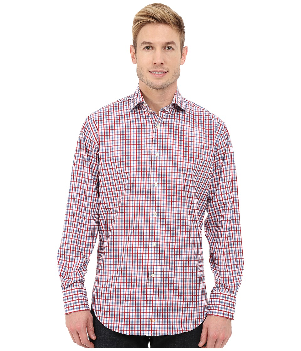 Thomas Dean & Co. - Long Sleeve Woven Open Check (Red) Men's Long Sleeve Button Up