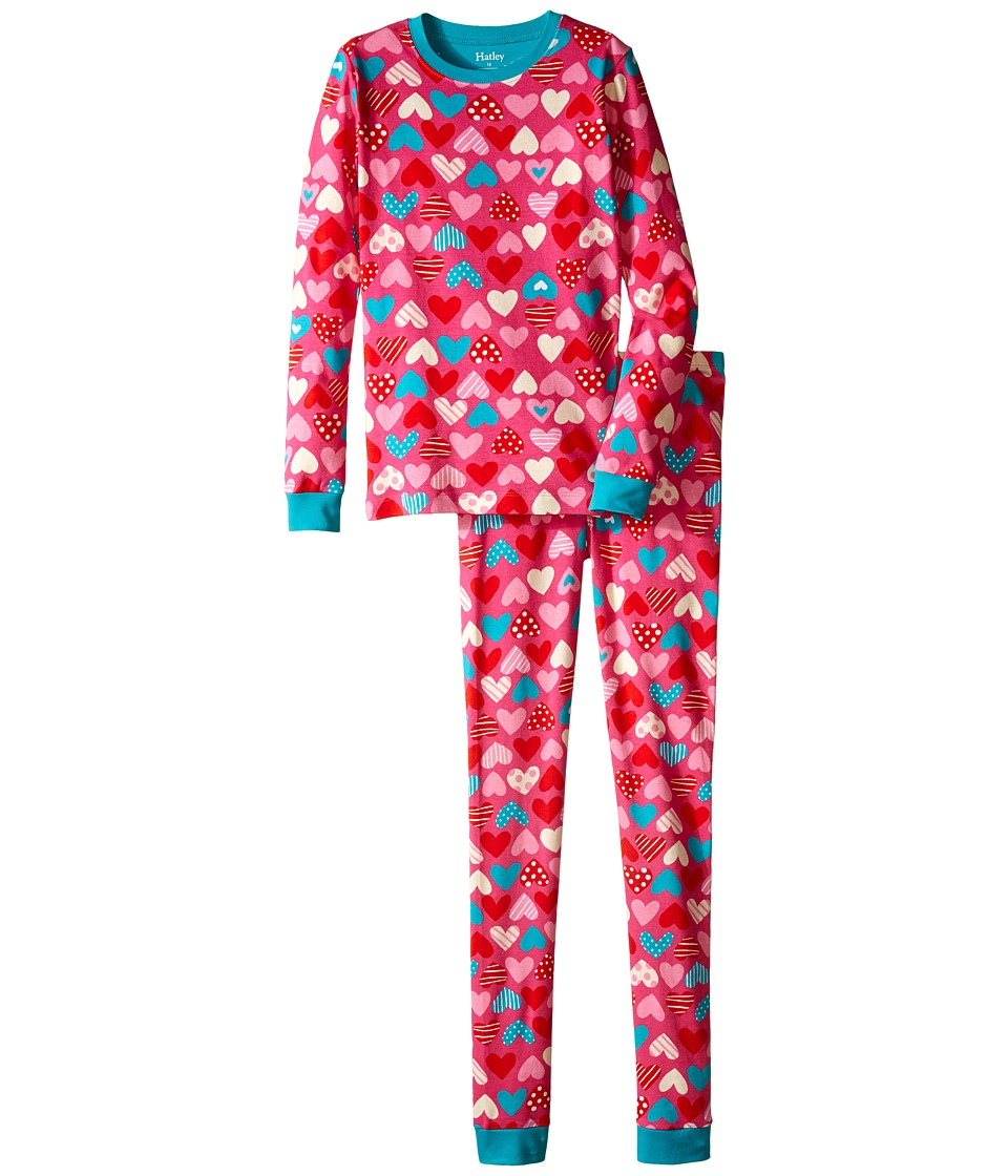 Hatley Kids - Crazy Hearts PJ Set (Toddler/Little Kids/Big Kids) (Pink) Girl's Pajama Sets