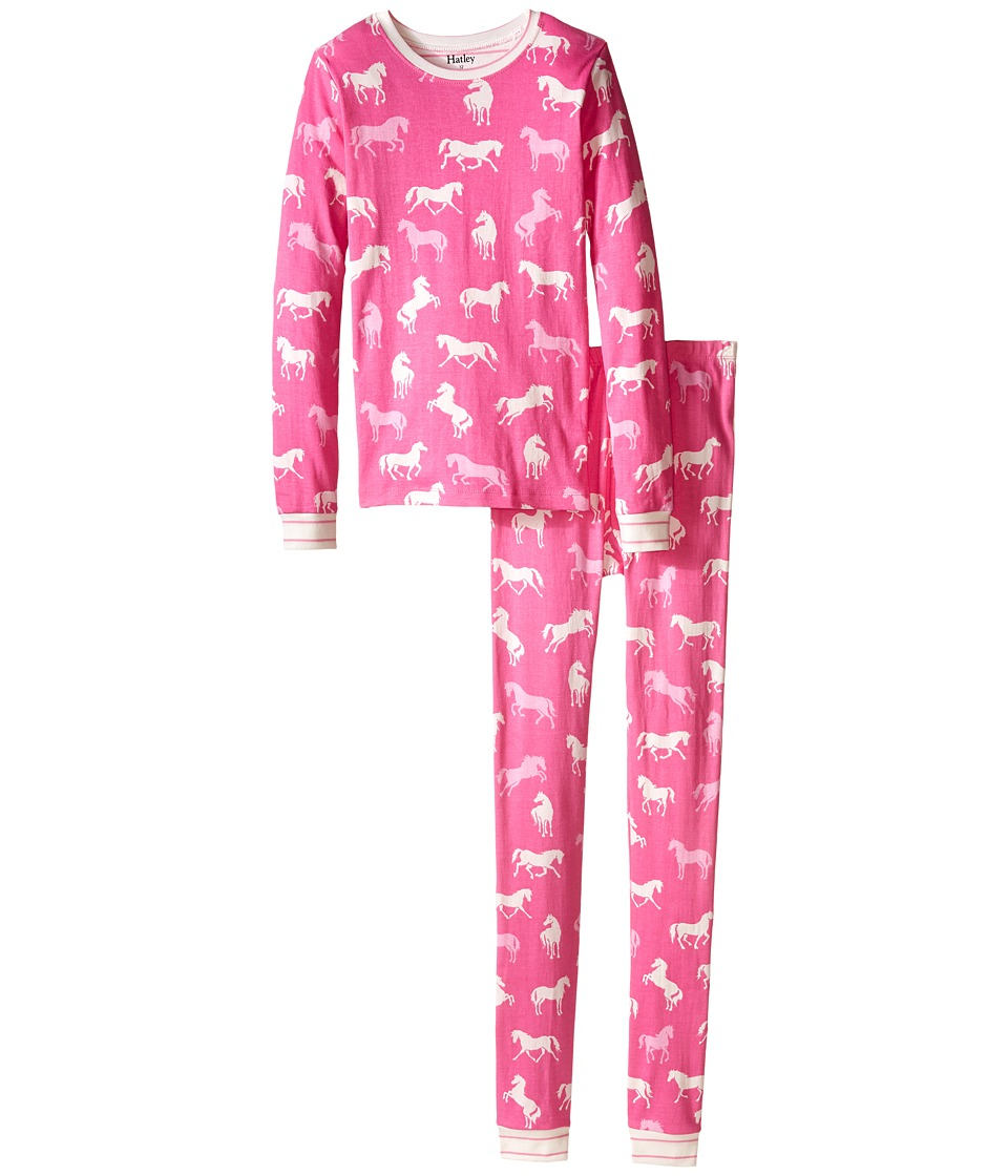 Hatley Kids - Classic Horses PJ Set (Toddler/Little Kids/Big Kids) (Pink) Girl's Pajama Sets