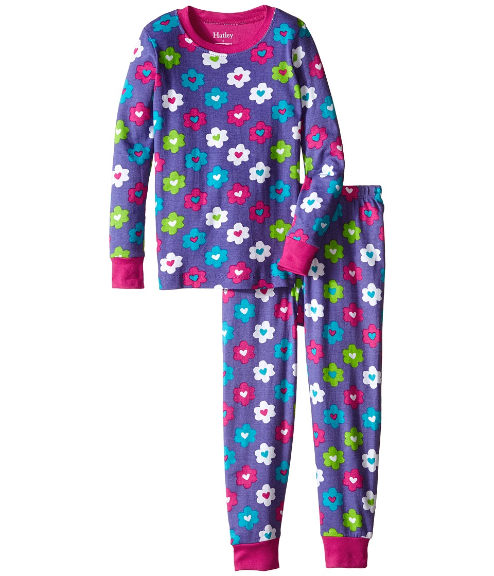 Hatley Kids - Flower Hearts PJ Set (Toddler/Little Kids/Big Kids) (Purple) Girl