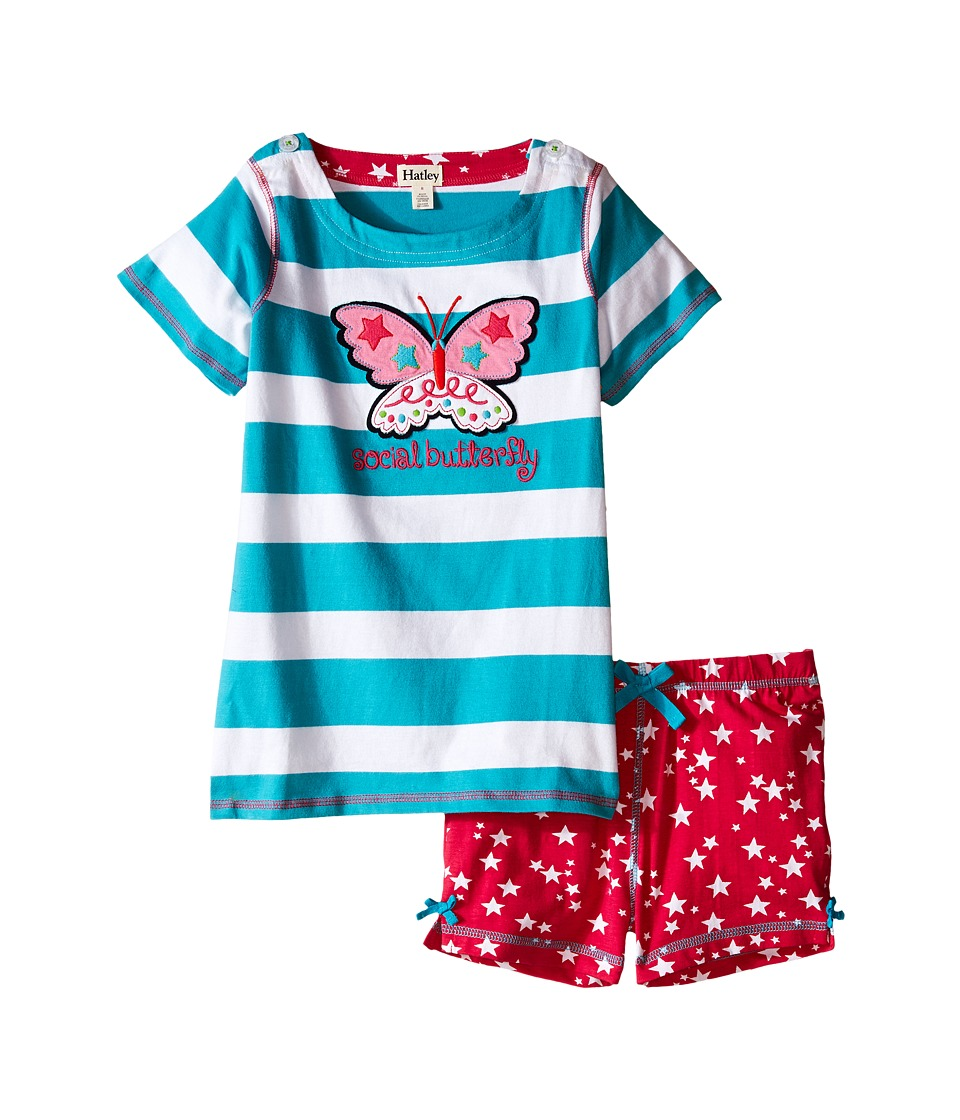 Hatley Kids - Electric Butterfly Button Tee Shorts Set (Toddler/Little Kids/Big Kids) (Aqua) Girl's Pajama Sets